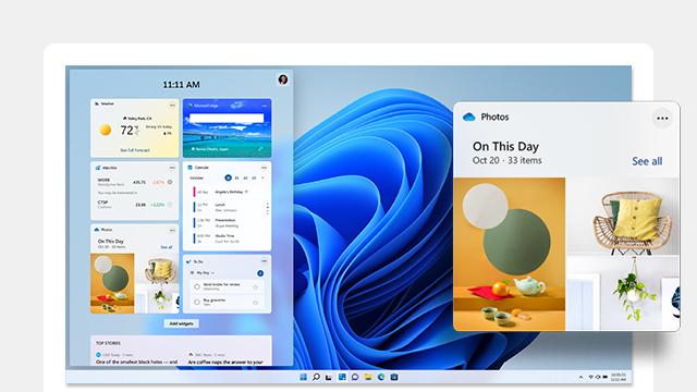 Windows 11 ウィジェットを表示するコンピューター画面。