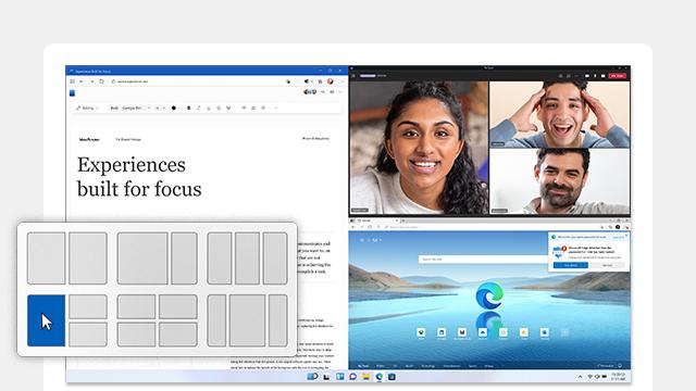 Windows 11 スナップのレイアウトを画面に表示したコンピューター。