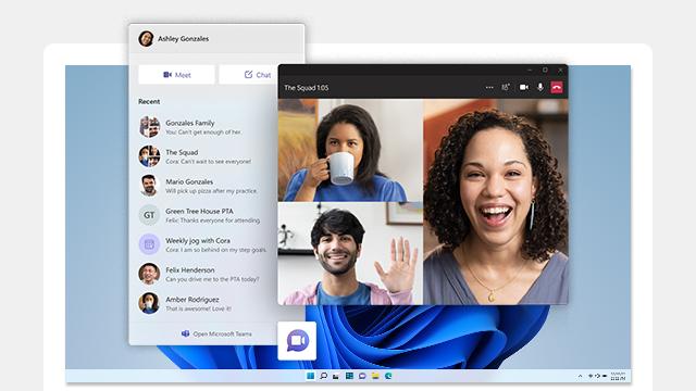 Microsoft Teams を表示するコンピューター画面。